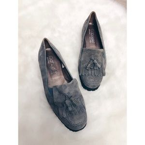 Gabriele by G Beni | Grey Suede Kiltie Loafer Flat